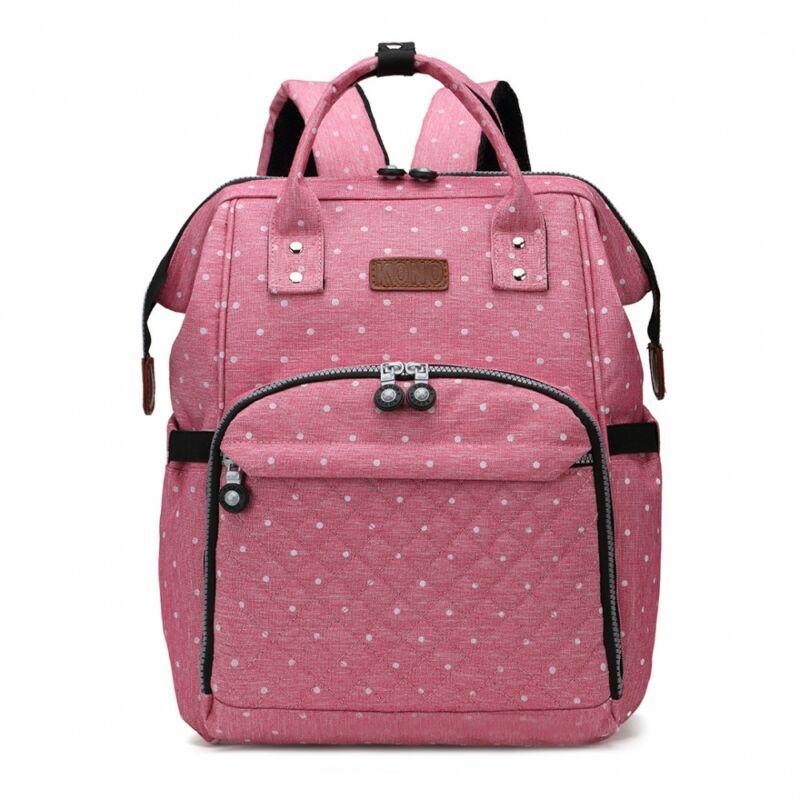 KONO baba-mama pöttyös modern hátitáska-pink-1