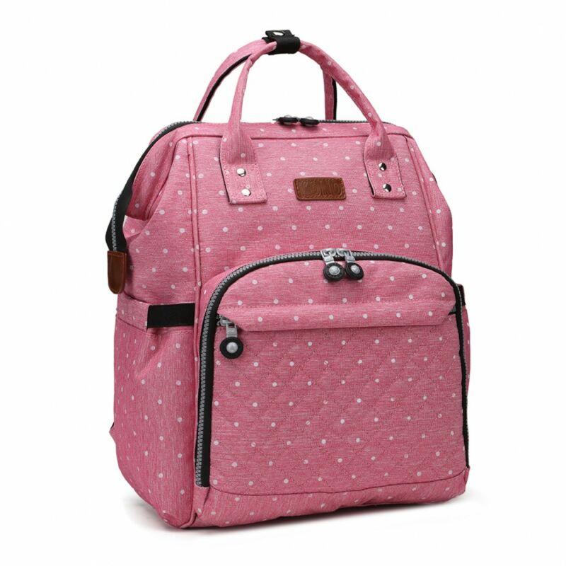 KONO baba-mama pöttyös modern hátitáska-pink