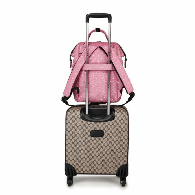 KONO baba-mama pöttyös modern hátitáska-pink-3