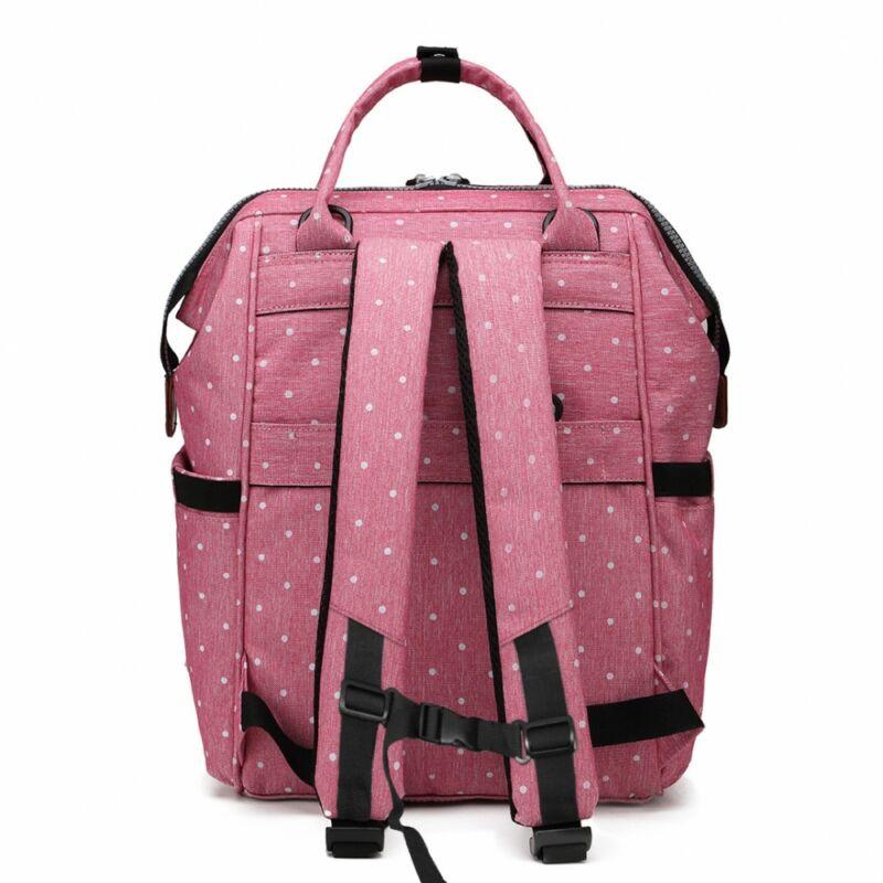 KONO baba-mama pöttyös modern hátitáska-pink-2